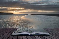 För lågvattenlandskap för härlig strand kust- bild på soluppgång med Arkivfoto