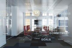 För löneförhöjningkontor för utövande modern tom affär som högt rum för konferens förbiser en stad Royaltyfria Foton