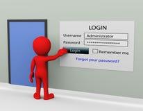 för lösenordinloggning för man 3d begrepp Arkivbild