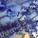 För lövverkabstrakt begrepp för vattenfärg marinblå bakgrund för textur stock illustrationer