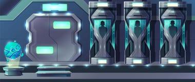 För laboratoriumtecknad film för mänsklig kloning begrepp för vektor royaltyfri illustrationer