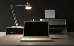 för lampkontor för skrivbord frontal home whit Arkivbilder