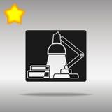 För lampsymbol för svart tabell högkvalitativt skrivbords- begrepp för symbol för logo för knapp Arkivfoton