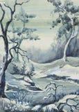 ` för landskap för bild`-vinter, Papper vattenfärg Arkivfoto