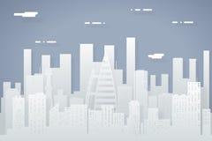 För landskapstad för pappers- kontur sömlös stads- för Real Estate mall för symbol för begrepp för design för lägenhet för bakgru stock illustrationer