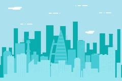 För landskapstad för sömlös kontur stads- för Real Estate vektor för mall för symbol för begrepp för design för lägenhet för bakg royaltyfri illustrationer