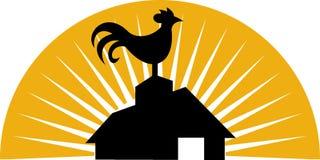 för lantgårdhus för ladugård gala rooster vektor illustrationer
