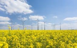 för lantgårdkälla för alternativ energi wind för turbiner Arkivbilder