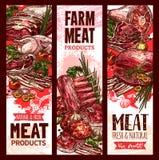 För lantgårdkött för vektor rå nya baner för slakt stock illustrationer