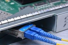 För lappkablar för fiber optiskt nätverk för internet Royaltyfri Bild