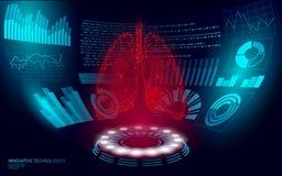 för laser-kirurgi för låga poly mänskliga sunda lungor 3D faktisk HUD UI för operation skärm Polygonal medicin för framtida tekno stock illustrationer