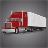 För lastbilvektor för tappning amerikansk illustration Retro fraktbåtlastbil Lastleveransmaskin Arkivbild