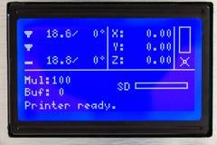 för lcd-skärm för skrivare 3d makro Arkivfoton