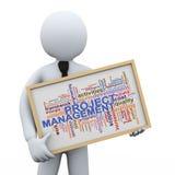 för ledningord för affärsman 3d och projektetiketter Arkivbilder