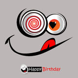 För leendevykort för lycklig födelsedag hälsningar royaltyfri illustrationer