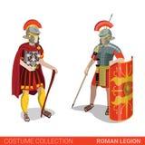 För legionkrigare för romersk välde lägenhet för dräkt för vektor för par för legionär royaltyfri illustrationer