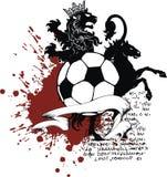 För lejontatuering för häst heraldisk svart vapensköld för futbol för fotboll Royaltyfri Fotografi