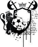 För lejontatuering för skalle heraldisk svart vapensköld för futbol för fotboll Royaltyfri Foto