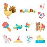För leksaktecknad film för barn s symboler i uppsättningsamlingen för design Lek- och struntsakvektorsymbolet lagerför rengörings vektor illustrationer