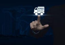 För leveranslastbil för affärsman trängande fri symbol över översikt och stad Arkivfoton