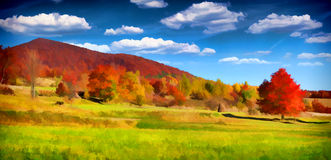 för liggandeberg för höst färgrik soluppgång arkivfoton