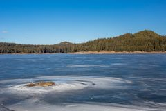 för ligganderussia för 33c januari ural vinter temperatur Fiskare på djupfryst sjövatten, pinjeskogBulgarien, Rhodopes berg, Shir royaltyfria bilder