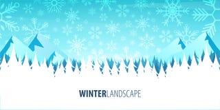 för ligganderussia för 33c januari ural vinter temperatur Julskogträn med berg också vektor för coreldrawillustration stock illustrationer