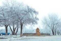 för ligganderussia för 33c januari ural vinter temperatur Skulptur i parkera Fotografering för Bildbyråer
