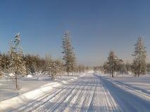 för ligganderussia för 33c januari ural vinter temperatur Snöig fält och djupfrysta träd Royaltyfria Bilder
