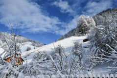 för ligganderussia för 33c januari ural vinter temperatur Härlig vinterplats i rumänska Carpathians Arkivfoton