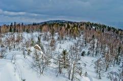 för ligganderussia för 33c januari ural vinter temperatur Nationalpark Taganay, Ryssland Arkivfoto