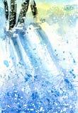 för ligganderussia för 33c januari ural vinter temperatur Snöig skog med solljus Arkivfoton