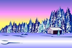 för ligganderussia för 33c januari ural vinter temperatur Stuga nära skogen Royaltyfri Bild
