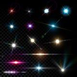 För linssignalljus för realistisk vektor glödande ljus effekt royaltyfri illustrationer