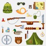 För livfritid för jakt ställde djura lösa symboler in för redskap och för utrustning med det knive tältet för geväret, och överle Royaltyfri Bild