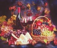 för livstid tappning fortfarande Vin och druvor i ett dramatiskt ljus Royaltyfri Fotografi