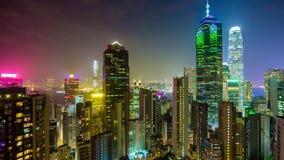 För ljus porslin för schackningsperiod för tid för panorama 4k för byggnader hong för natt kongscape modernt arkivfilmer