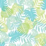 För ljus tropisk hawaiansk sömlös modell sidasommar för vektor med tropiska gröna växter och sidor på marinblått vektor illustrationer