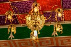 För ljuskronalyx för Crystal exponeringsglas bakgrund Royaltyfri Fotografi