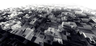 för ljuslager för tolkning 3D stad för cyber av slumkvarteret, utrymmestati Arkivfoton