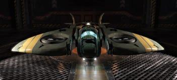 För ljusutrymme för enkel person som hantverk anslutas i en hangar vektor illustrationer