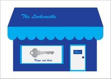 för locksmithslogo för cutting key lager vektor illustrationer