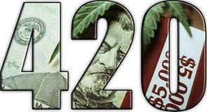 För Logo With Money Inside With för marijuana 420 bakgrund vit Arkivbilder