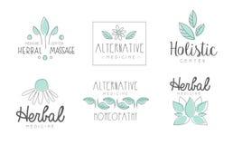 För logodesign för alternativ medicin uppsättning, växt- massage, holistisk mitt, homeopati, dragen vektor för växt- medicin hand vektor illustrationer