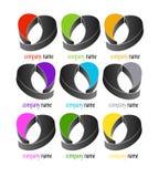 för logodesign för hjärta 3d uppsättning Royaltyfria Bilder