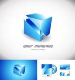 För logodesign för kub 3d symbol för blått Arkivbilder