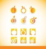 För logosymbol för frukt orange uppsättning Royaltyfria Bilder