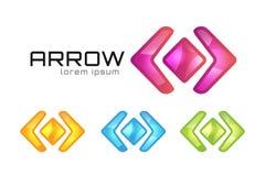 För logovektor för pil abstrakt mall Rengöringsduk eller app Royaltyfri Bild