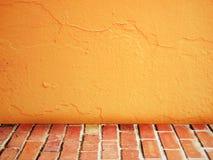 för lokaltappning för tegelsten inre vägg Arkivbild