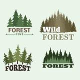 För loppgräsplan för träd blast för emblem för logo för utomhus- för kontur emblem för skog sörjer barrträds- naturlig den prydli royaltyfri illustrationer